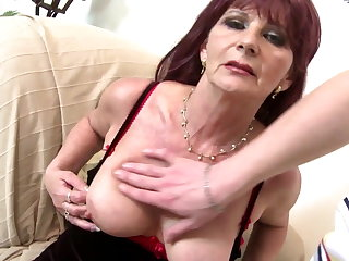 Old grandma slut suck with an increment of fuck big young cock