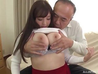Japanese babe Tsubakiori Satomi gets her big tits all covered in cum