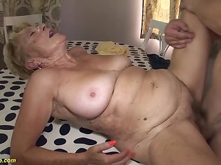 horny 8 old hairy bush grandma gets extreme rough and deep fucked in say no to old cunt