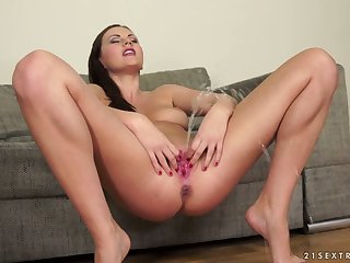 After flashing her off colour ass Tina Kay is ready to insert toy deep in
