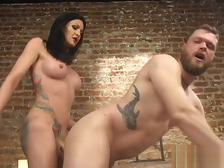Transgender babe assfucking male lover