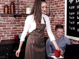 Lovely teen waitress Eliza Ibarra is get-up-and-go for copulation with handsome visitor