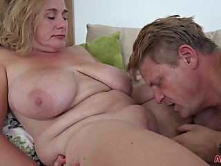 fat mature mom with broad in the beam jugs having it away at home for cumshot