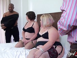 Group trash porn video featuring duo chubby aged housewives in blue outfits