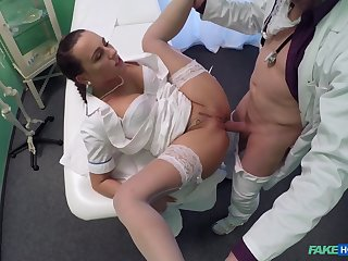 Wrought up babe takes it in both holes during a doctor's checkout