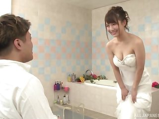 Japanese babe is about yon obtain married, hamper she wants the flog man's dick