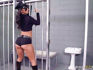 Prison guardian banged two sluts : Anikka Albrite together with Jada Stevens
