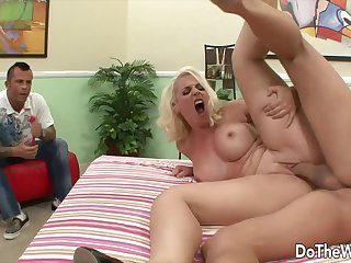 Sexy blonde swinger wives get their pussies fucked hard and deep by another guy