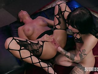 Squirting and hard play via Lezbo BDSM with Charlotte Sartre and Ariel X