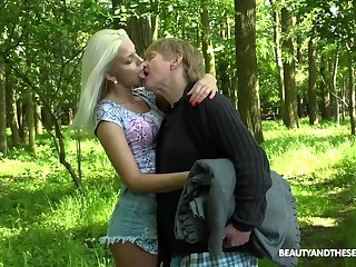 Young nympho Julia Parker gets fucked in the forest by one abnormal senior