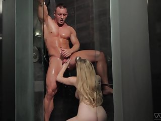 Muscular dude enjoys while Aiden Starr gives him a BJ and pokes his ass