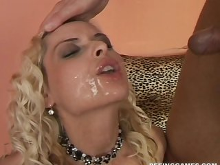 Blonde slut Alena in lingerie fucked by a sex-crazed purchaser and eats cum