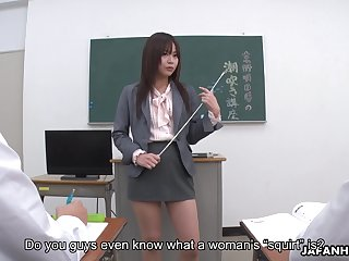 Horny tutor from Japan Asuka Kyono wanna get her wet pussy fingered