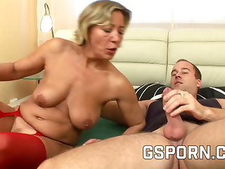 Hot grown-up in red downcast underwear fucked on the lie alongside