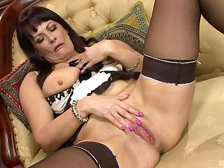 Interesting solo with mature dame Marie-Christine Chireix