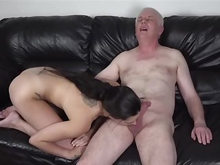 Pixiee Little schoolgirl fucked unconnected with Old Nick (MikeOck123) on the sofa