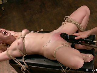 Gagged bound blond hair infant gets toyed