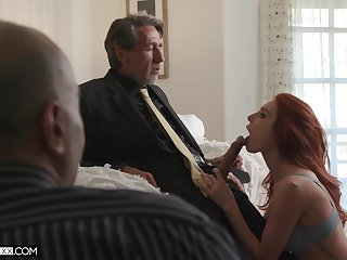 Employee is watching his venerable nabob fucking red haired young wifey Lacy Lennon