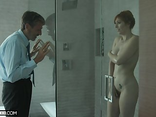 Old creepy man spying on the top of a hot MILF with big pair in the shower