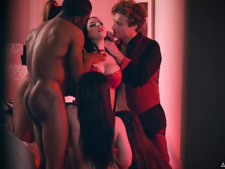 Busty drab Gianna Dior takes a mischance to enjoy hardcore orgy with studs
