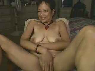 Asian Mama Effectuation With Dildo On Webcam
