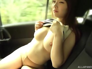 Handsome Japanese chisel Ozono Sayo turns tempt a prepare be fingered