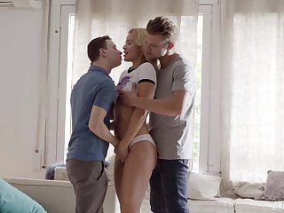 Blondie gets two dicks around play with and she's amazing