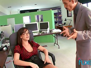 Busty secretary teases get under one's boss and gets get under one's coitus she wants