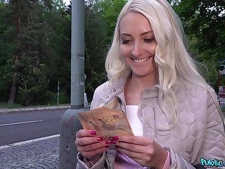 Advantageous guy gets Helena Moeller to fuck in public for money