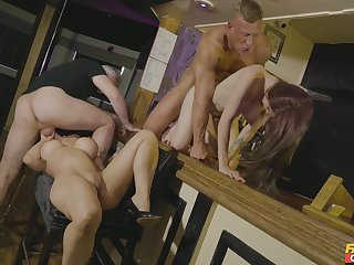 Beautiful people foursome in scenes of erotic XXX action