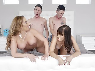 Energized wives fucked close to a double XXX cam play on the Davenport
