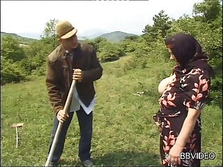 German granny strips to be fucked by a younger dude in out of pocket