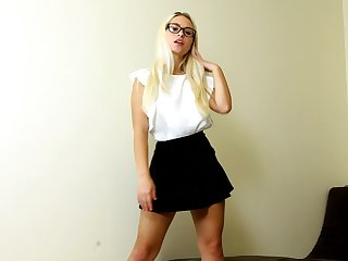 Hot blondie in short skirt Polly B is jilling off luscious snatch