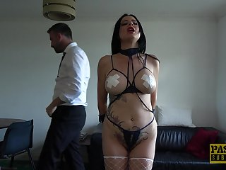 Slutty night wife Damaris tied up and fucked in all of her holes