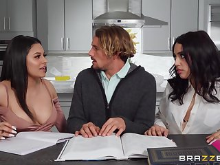 Serena Santos and Vanessa Sky look so hot during naughty kitchen antics