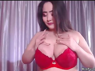 Illustrious tits brunette Asian amateur bbw stripping red underwear coupled with then naked fucking dildo