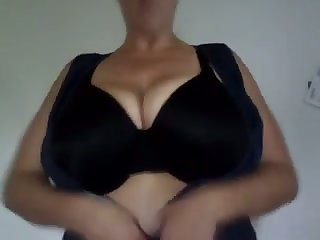 The big tits stunner loves playing down her massive boobs added to she's so horny
