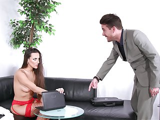 Dude catches his GF watching porn and decides to intrigue b passion her germane on rub-down the couch