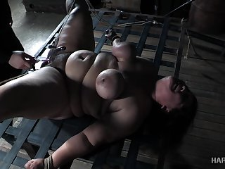 Super fat whore Karla Lane is punished untaught BDSM room