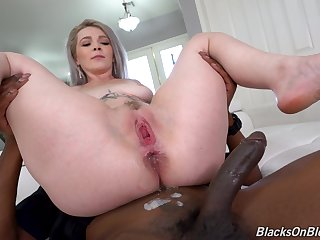 Interracial MMF threesome anent a big ass bombshell Kay Carter