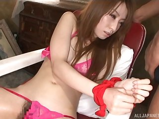 Skinny explicit Anje Hoshi plighted and fucked in mouth and pussy