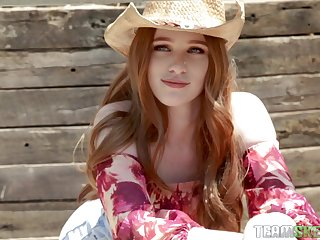 Sexy cowgirl Scarlett Snow takes a giant dick in will not hear of wet pussy