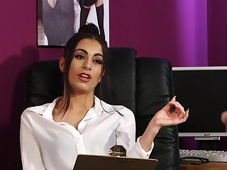 Superb secretary is keen to have a go the dick thither a fragrant CFNM play