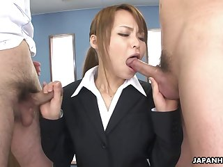 Appetizing buxom office Japanese lady gives both titjob and nice blowjob