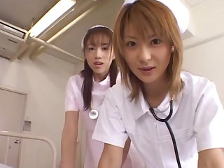 Asian nurses team all over close by have sex with a example - Naho Ozawa